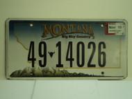 2010 MONTANA Big Sky License Plate 49 14026