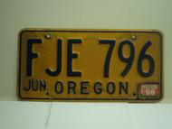 1996 OREGON License Plate FJE 796