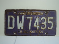 1964 ILLINOIS Land of Lincoln License Plate DW7435