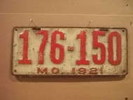 1921 Missouri 176 150 license plate DMV clear