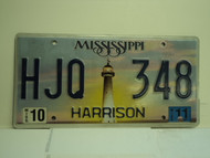 2011 MISSISSIPPI Lighthouse License Plate HJQ 348
