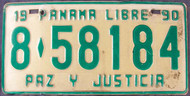 1990 Panama Libre License Plate