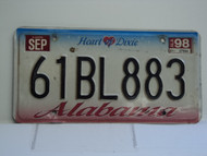 1998 ALABAMA Heart of Dixie License Plate 61BL883