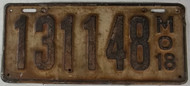 1918 Missouri License Plate 131148 DMV Clear