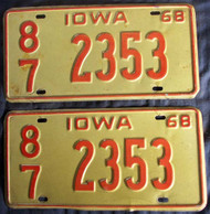 PAIR 1968 Iowa 2353 License Plate