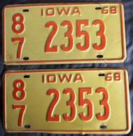 PAIR 1968 Iowa 2353 License Plate