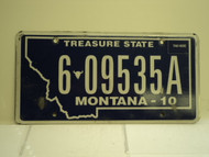 2010 MONTANA Treasure State License Plate 6 09535A