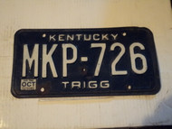 1985 KENTUCKY License Plate MKP 726