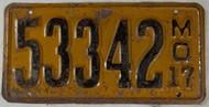 1917 Missouri License Plate 53342 DMV Clear