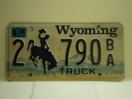 1998 Wyoming License Plate 2 790 BA
