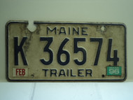 1996 MAINE Trailer License Plate K 36574