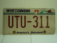 WISCONSIN America's Dairyland License Plate UTU 311