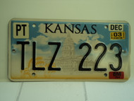 2003 KANSAS Capitol Trailer License Plate TLZ 223