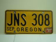 1992 OREGON License Plate JNS 308