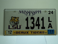 2011 MISSISSIPPI LSU Geaux Tigers License Plate 1341 LA