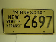 MINNESOTA New Vehicle In Transit License Plate 2697