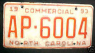 1993 North Carolina AP-6004 Comm'l License Plate