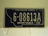 2010 MONTANA Treasure State License Plate 6 08613A