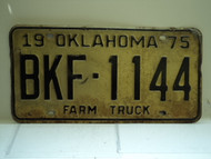 1975 OKLAHOMA Farm Truck License Plate BKF 1144