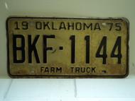 1975 OKLAHOMA Farm Truck License Plate BKF 1144