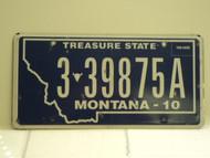 2010 MONTANA Treasure State License Plate 3 39875A