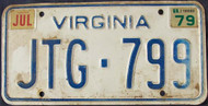 1979 Jul Virginia JTG-799 License Plate