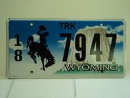 WYOMING Bucking Bronco Devils Tower Truck License Plate 18 7947