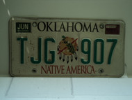 2001 OKLAHOMA Native America License Plate TJG 907