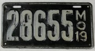 1919 Missouri License Plate 28655 DMV Clear