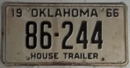 1966 Oklahoma House Trailer 86-244 License Plate