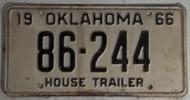 1966 Oklahoma House Trailer 86-244 License Plate