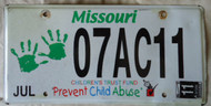 2011 July Missouri Children's Trust Fund License Plate