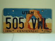 UTAH Centennial 1896 1996 License Plate 505 VWL