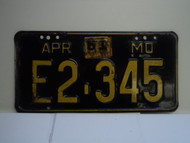 1961 Missouri License Plate E2 345 DMV CLEAR
