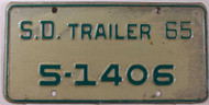 1965 SD South Dakota Trailer 5-1406 License Plate