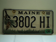 2002 MAINE Vacationland License Plate 3802 HI
