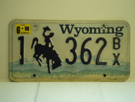 1996 WYOMING Bucking Bronco License Plate 1 632 BX