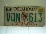 2005 OKLAHOMA Native America License Plate VQN 613