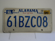 1996 ALABAMA Heart of Dixie License Plate 61BZC08