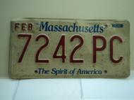 MASSACHUSETTS Spirit of America License Plate 7242 PC