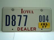 2007 IOWA Dealer License Plate  D877 004