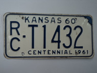 1960 KANSAS 1961 Centennial Truck License Plate RC T1432