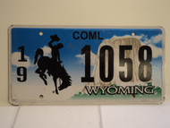 WYOMING Bucking Bronco Devils Tower Commercial License Plate 19 1058