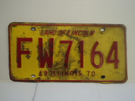 1970 ILLINOIS Land of Lincoln License Plate FW 7164 1