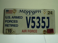 2010 MISSISSIPPI US AIR Force Retired License Plate V535J