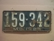 1925 Missouri 159 342 Missouri license plate DMV cler