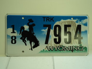 WYOMING Bucking Bronco Devils Tower Truck License Plate 18 7954