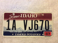 2009 July Idaho Scenic 1A VJ670 License Plate