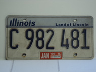 1999 ILLINOIS Land of Lincoln License Plate C 982 481