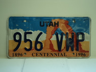 UTAH Centennial 1896 1996 License Plate 956 VWP